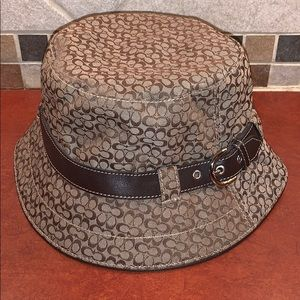 COACH khaki & brown BUCKET HAT size M/L nwot